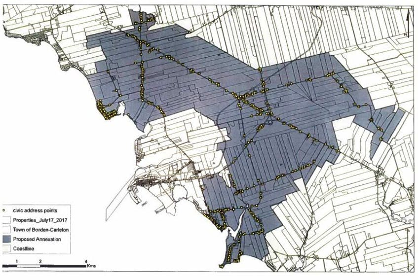 A map of Borden Fire District, which is being used as the proposed new boundaries of the Town of Borden-Carleton.