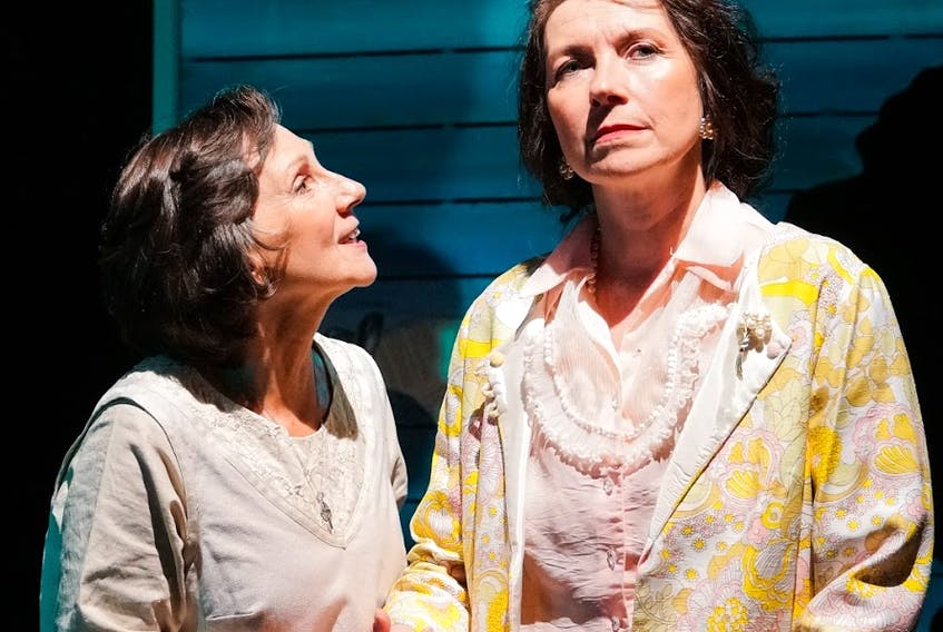"""Amy House (left) as Mary Carew with Ruth Lawrence as Margaret Duley in Persistence Theatre Company's production of """"The Haunting of Margaret Duley."""" -Photo by Ashley Harding Photography"""