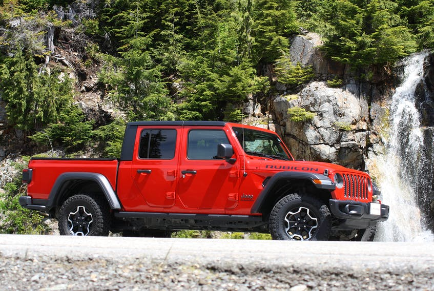 The 2020 Jeep Gladiator Rubicon. This four-door Wrangler with a box bolted on the back appears the feverish dream of a rock crawling prepper. — Andrew McCredie