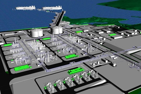 Pieridae Energy's rendering of a planned LNG plant to be built in Goldboro, Guysborough County. Pieridae Energy