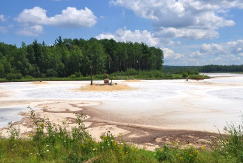 Aerators churn up effluent from Northern Pulp at the Boat Harbour Treatment Facility. A 21-year term for a trust settled in 1993 between Pictou Landing First Nation and the Government of Canada valued at around $30 million expires this Saturday.