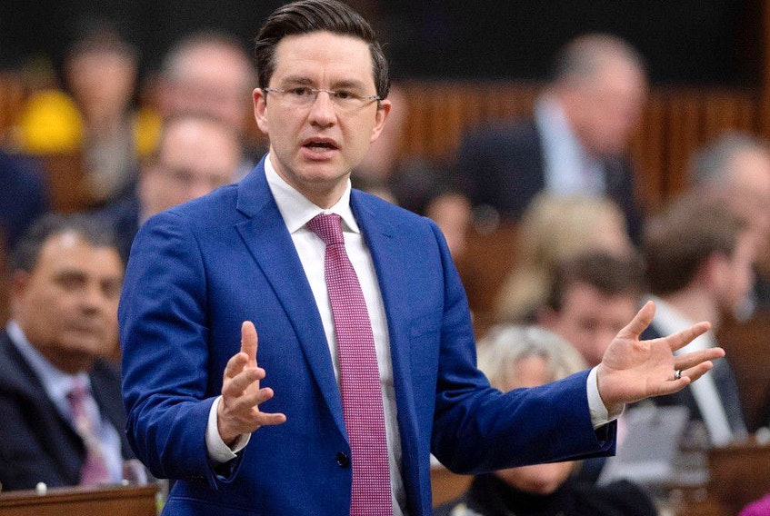Conservative MP Pierre Poilievre rises during Question Period in the House of Commons Wednesday February 26, 2020 in Ottawa.