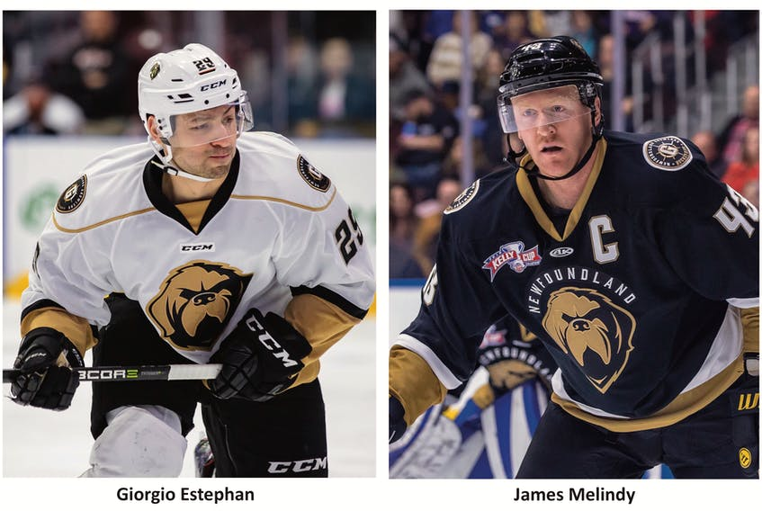 Giorgio Estephan had 50 points in 42 games for the Growlers before being recalled to the Marlies. Team cap(left) tain James Melindy had a goal and six assists in 32 games before having to serve an eight-game ECHL suspension. — Newfoundland Growlers photos/Jeff Parsons