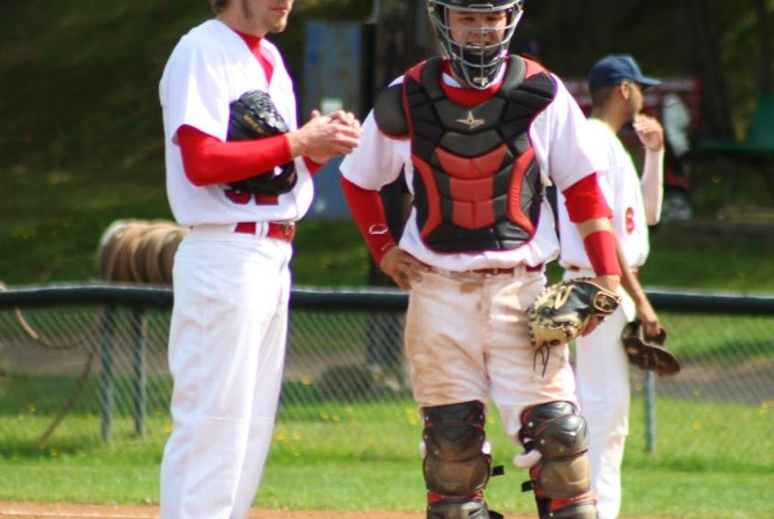 Pitcher David Pilat, left, catcher Ted Higa and their teammates will need to be at the top of their game this weekend when the Acadia baseball club takes on UNB in a best-of-three CIBA Atlantic conference playoff series. The first two games are Oct. 11 in Fredericton, with game three, if needed, Oct. 12 at 1 p.m. in Kentville.