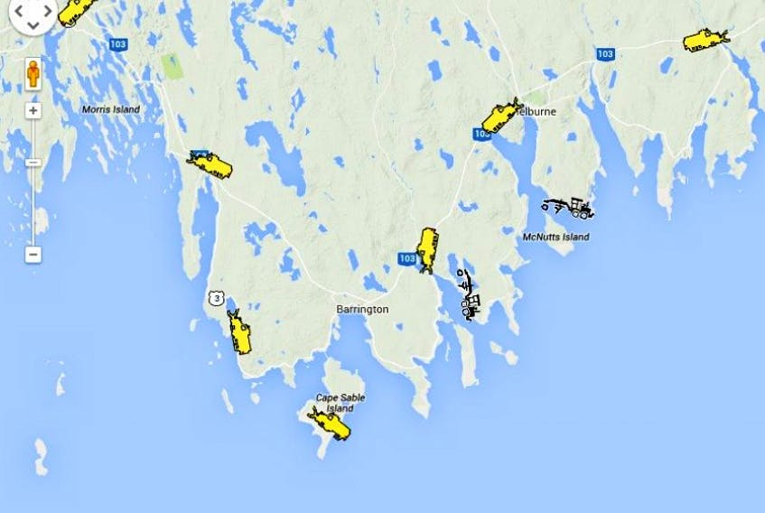 The province's snow plow tracking app showed a full contingent of plows on the roads in Shelburne County.