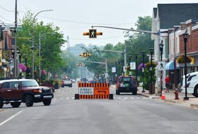 Wolfville's Main Street was closed on July 29 to allow town staff time to take down signs and barricades to reinstate two-way traffic. KIRK STARRATT