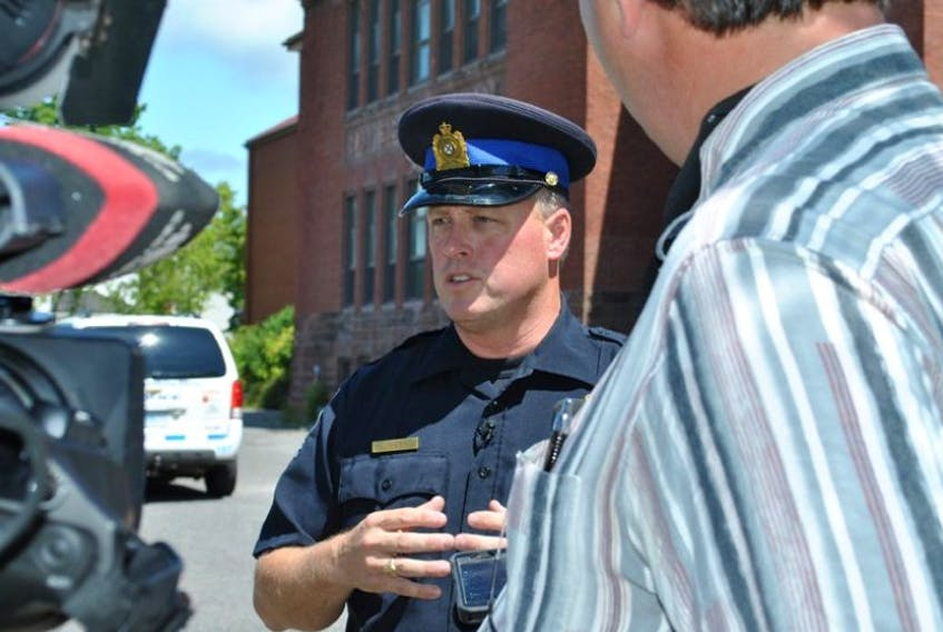 <p>Const. Ken MacDonald of the New Glasgow Regional Police speaks to members of the media on Thursday regarding human remains found in the former Temperance Street School. CAROL DUNN – THE NEWS</p>