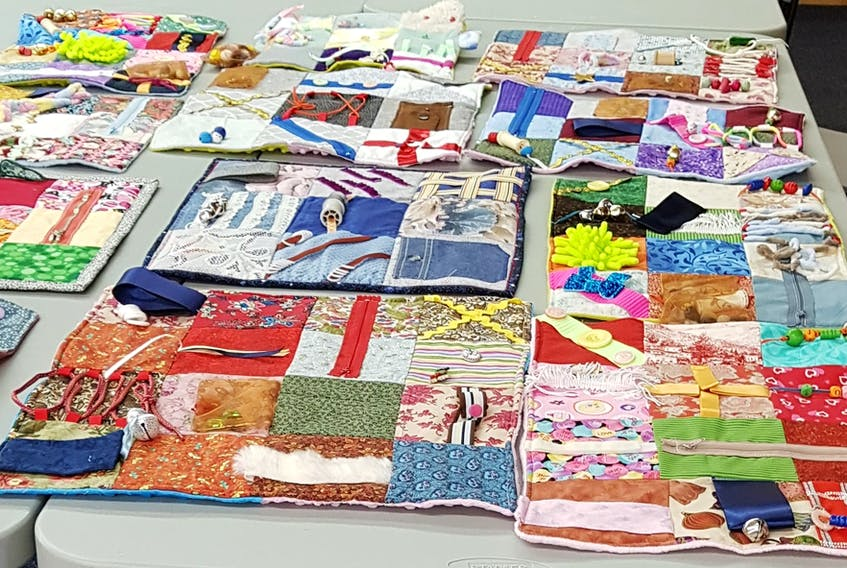 These fidget quilts were presented as a generous donation to the protective care unit in Clarenville on behalf of the Port Blandford Quilters. CONTRIBUTED