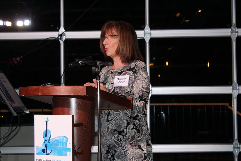 Port of Sydney chief executive Marlene Usher speaks during Thursday night's annual general meeting to lay out the financial year affected mainly by the lack of cruise ships docking in Sydney over the past two years due to the COVID-19 pandemic. -- IAN NATHANSON/CAPE BRETON POST