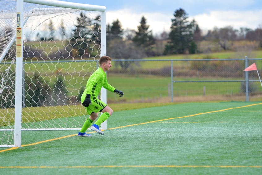 Holland Hurricanes keeper Hayden Porter is shown in action during the 2019 Atlantic Collegiate Athletic Association (ACAA) men's soccer championship at the Terry Fox Sports Complex in Cornwall.