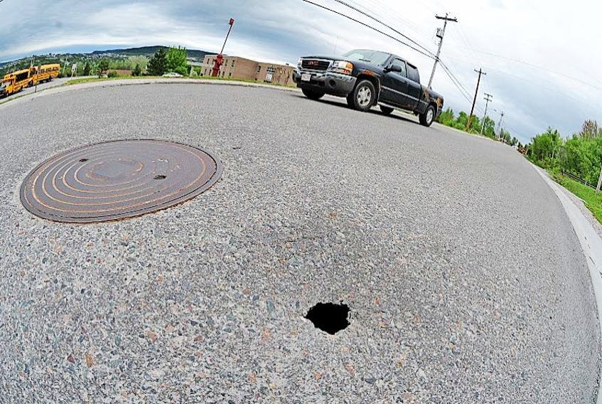 This photo shows what could be a possible sinkhole forming on Citadel Drive near C.C. Loughlin School in Corner Brook. The hole in the pavement is about 4-6 inches wide and traffic flows over or near it daily.