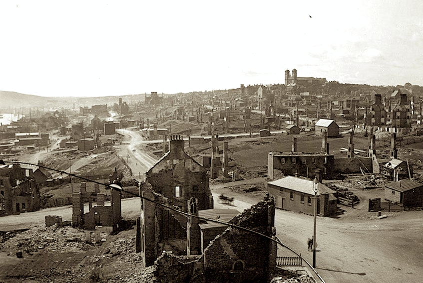 The great fire that destroyed almost all of the east end of St. John's and the city's downtown commercial district in July 1892 led to the cancellation of the Regatta that year. — File photo/Provincial Archives