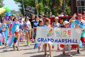 In this file photo, a large group of Cape Breton youth helped lead the way for the 19th annual pride parade with a large mural marking the 50th anniversary of the Stonewall rebellion. ERIN POTTIE • CAPE BRETON POST