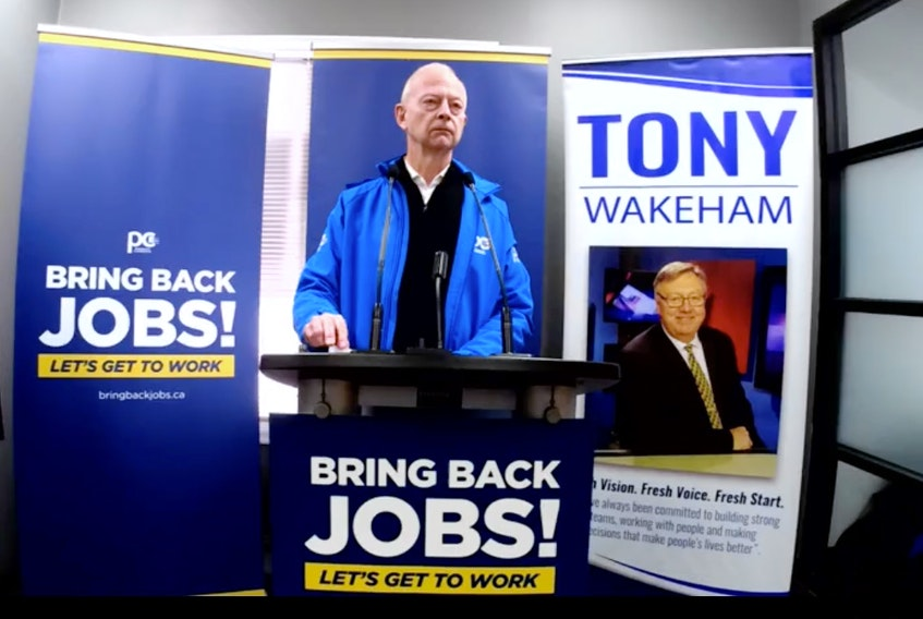 Progressive Conservative Leader Ches Crosbie promised a PC government would ensure local workers will be the first in line for jobs on government projects, during an announcement via Facebook Live on Monday.