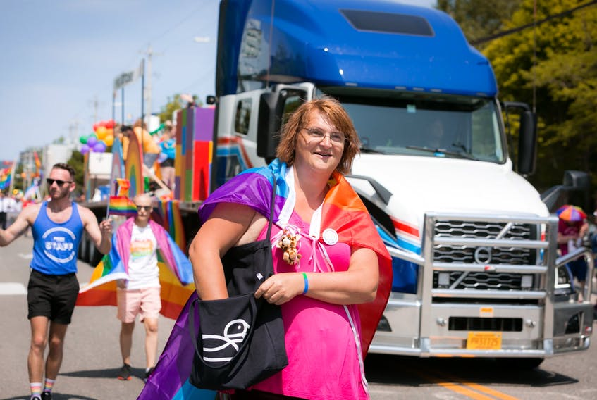 Veronica Merryfield is shown marching in last year's Pride Cape Breton parade in Sydney. CONTRIBUTED - MIKE WHITE PHOTOGRAPHY