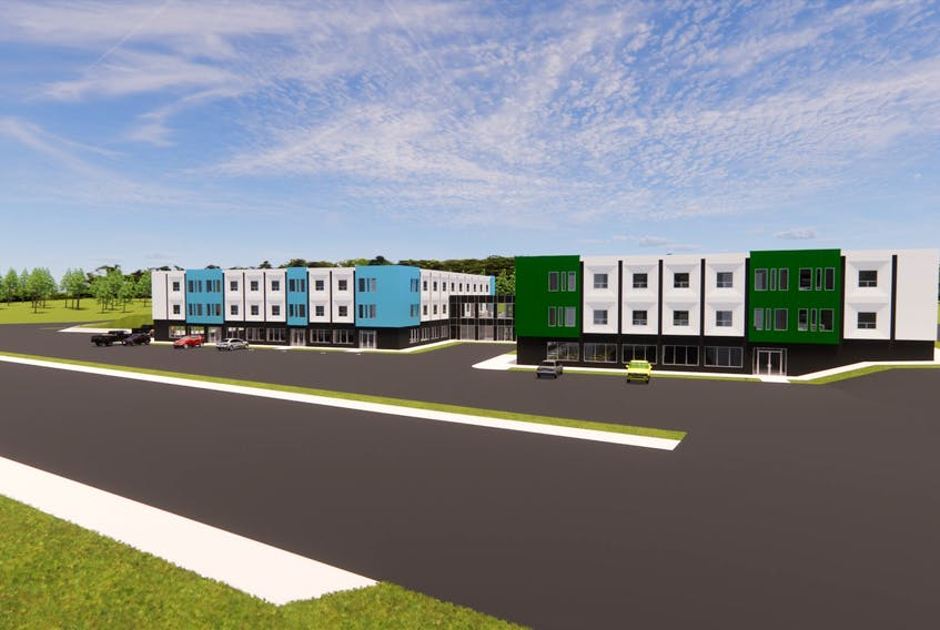 A conceptual drawing of what the old hospital in Labrador City will look like after it is transformed into affordable apartments for seniors in Labrador West. - Contributed