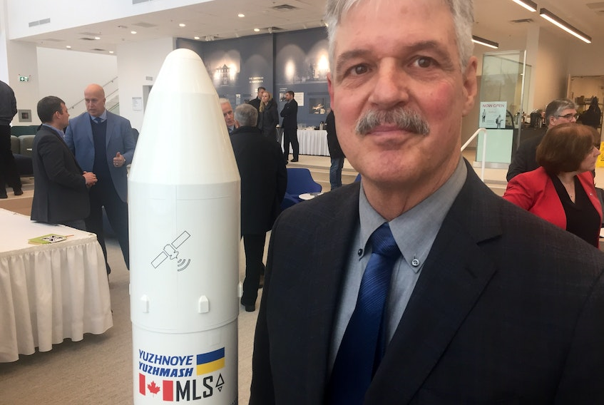 Stephen Matier, president of Maritime Launch Services, at St. Francis Xavier University on Friday. Aaron Beswick - The Chronicle Herald