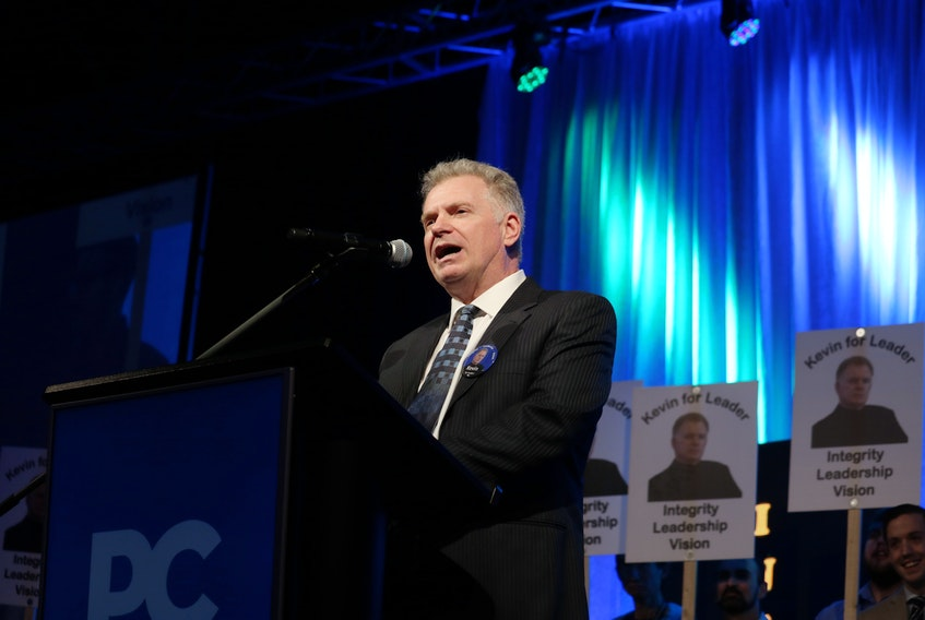 Kevin Arsenault delivers a speech during his Progressive Conservative leadership run on Feb. 9, 2019. The province paid Arsenault $50,000 to produce a report on the establishment of a land bank last July. Stu Neatby/THE GUARDIAN