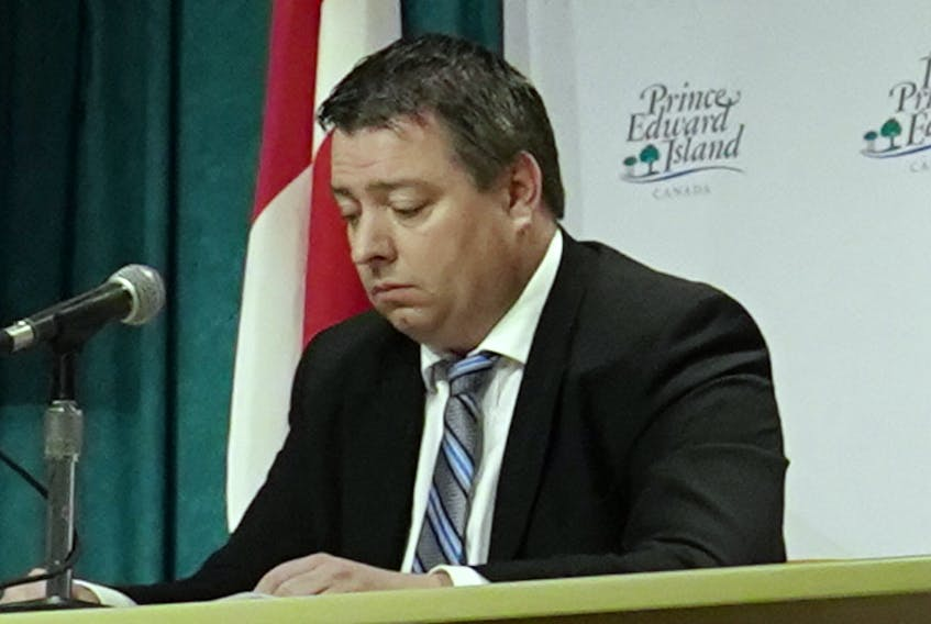 P.E.I. Tourism and Culture Minister Matthew MacKay listens to questions during a coronavirus media briefing in March.