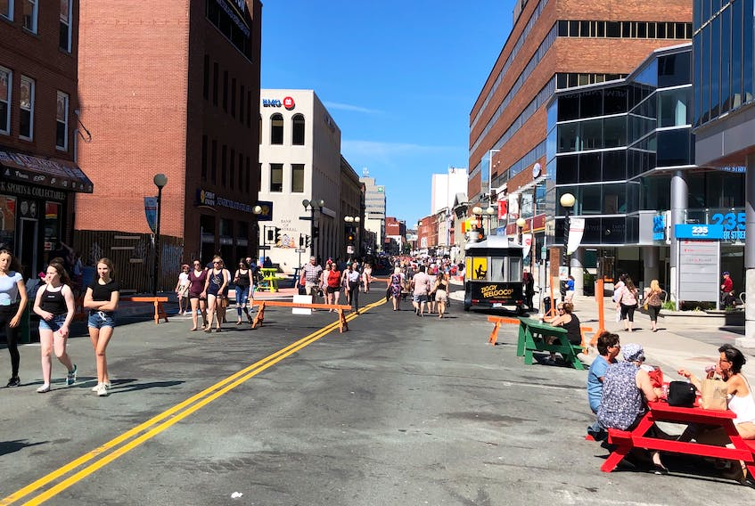 If the crowds on Water Street this past summer weren't already an indication, a review of the pedestrian mall showed that 98 per cent of survey respondents liked the project so much they want it to go ahead again next year. -TELEGRAM FILE PHOTO
