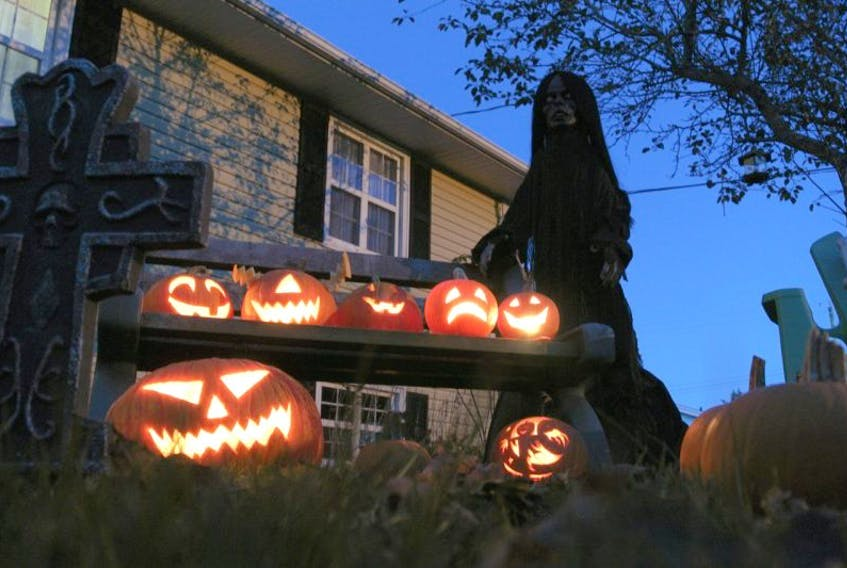 Patti keeps watch over some of the pumpkins in the haunted patch.