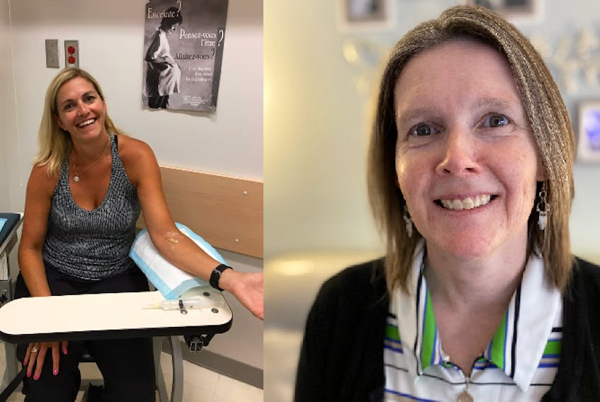 In 2017, Sharon Needham (left) travelled to Quebec to access a gallium-68 DOTATATE clinical trial (pictured). Today, Sharon and Darlene Pomroy (right) are both raising funds for the QEII Foundation to help bring this critical cancer detection tool to the QEII Health Sciences Centre. - Photo Contributed.