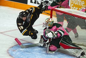 Cape Breton Eagles forward Shaun Miller flies through the air beside Halifax Mooseheads goalie Cole McLaren during an Oct. 20, 2019 QMJHL game at the Scotiabank Centre. (FILE)