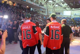 Benoit-Olivier Groulx and Jared McIsaac were the first and second overall picks of the Halifax Mooseheads during the 2016 Quebec Major Junior Hockey League draft at the Eastlink Centre in Charlottetown. File