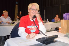 The Cape Breton Regional Hospital Foundation fundraiser known as RadioDay was held on Thursday at multiple locations. Home base for the fundraiser was Centre 200 in Sydney where donors dropped off and announced donations. A phone bank was on hand so that people could call in their monetary support. The focus of this year's campaign is Cape Breton's new cancer centre. Patricia Calder, shown, was volunteering for her third RadioDay because its support for the foundation hits closed to home. Her husband is undergoing treatments locally. Her nephew is also the late Caleb MacArthur, whose cancer fight has inspired a successful fundraising initiative of its own. Volunteers for RadioDay were canvassing for donations across the municipality throughout the day as well. The event was aired on radio stations 103.5 New Country and 101.9 The Giant. Event sponsors are Sydney Credit Union, Meco Construction and Jim Sampson Motors. GREG MCNEIL/CAPE BRETON POST