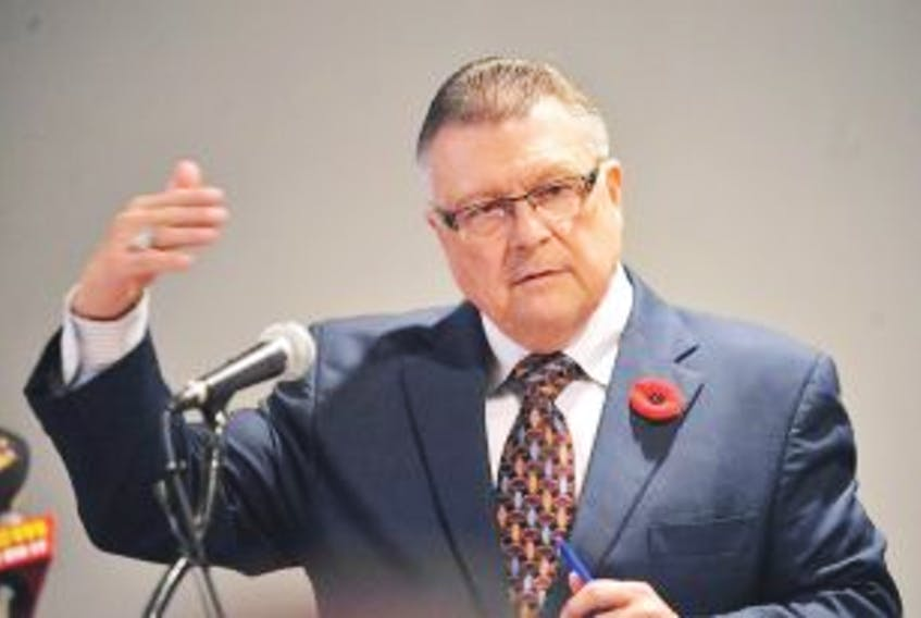 ['Former federal finance minister Ralph Goodale addressed the Greater Corner Brook Board of Trade luncheon Tuesday, Nov. 8, 2011. — Star photo by Geraldine Brophy']