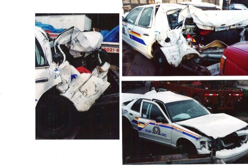 Retired Amherst RCMP officer Paul Calder was in a serious collision in November 2001 when he had stopped at the side of the highway near Amherst to help a motorist. He was in his vehicle when it was struck from behind by a shuttle van. These photos show how much damage was inflicted to Calder's cruiser.