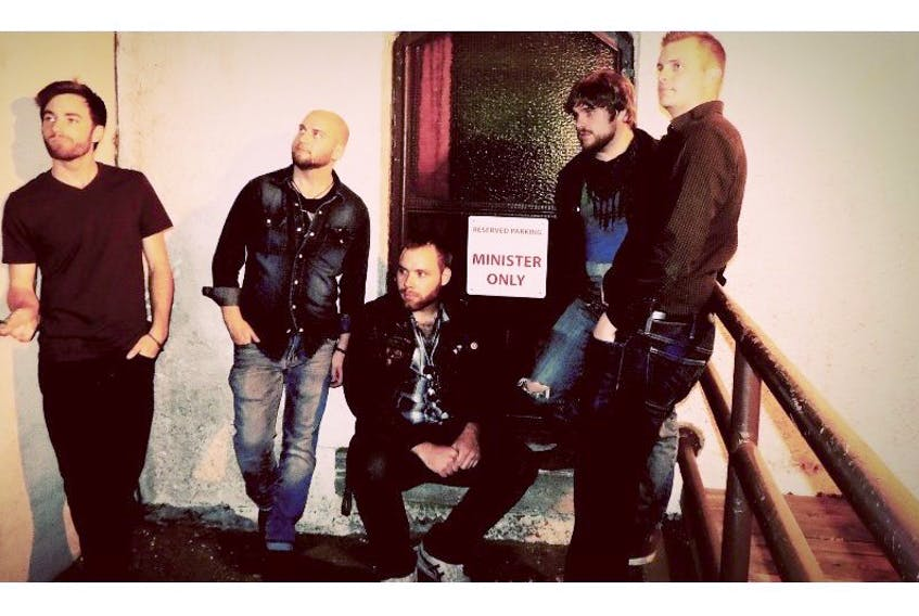 <p>Calen Kinney, Jacob Noonan, Kyle Findlay, Luke Levy, Rob Wickstrom of the Regal Beagle Band.</p>