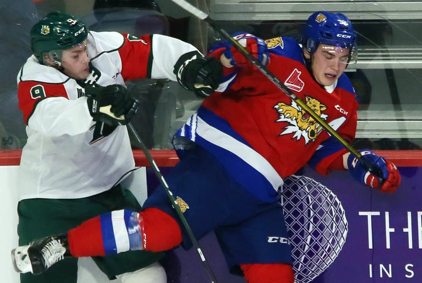 Halifax Mooseheads forward Kyle Petten collides with Moncton Wildcats Jacob Hudson during a Jan. 3 QMJHL game at the Scotiabank Centre. (TIM KROCHAK/The Chronicle Herald)
