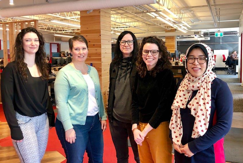 Alex Garnett, Karen Bell, Jocelyn Stretton, Rin Heimerle and Mengjie Yang of REDspace have been working on a brand-new website for Techsploration. - Contributed.