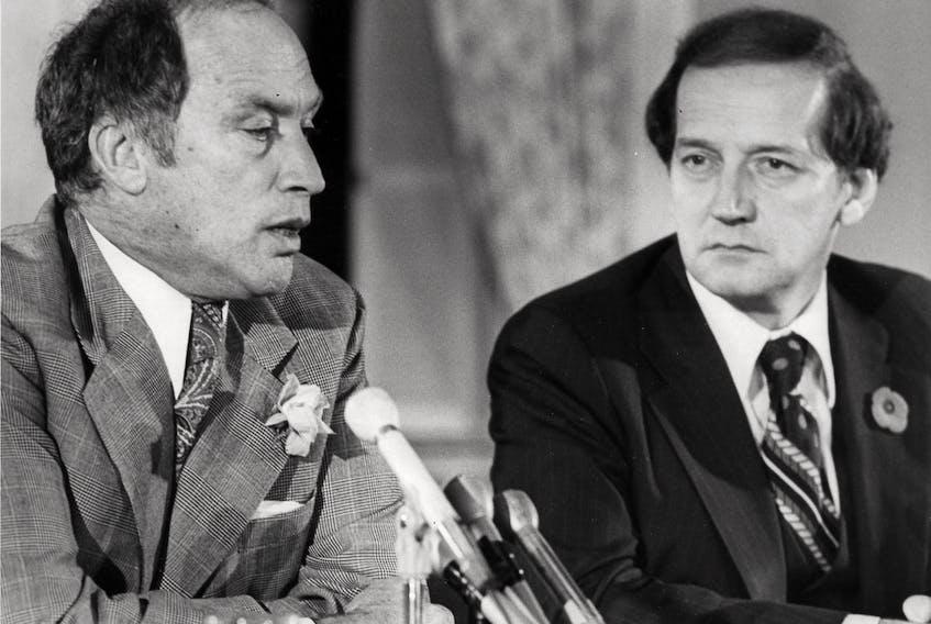 Then Nova Scotia premier Gerald Regan with then prime minister Pierre Trudeau in 1977. - Chronicle Herald archives