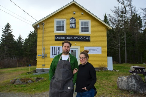 Gabriel Wallot-Beale and Kate Melvin in front of their Labour Day Picnic Cafe in Glen Haven on Monday. The new cafe will open on Wednesday. Ryan Taplin - The Chronicle Herald