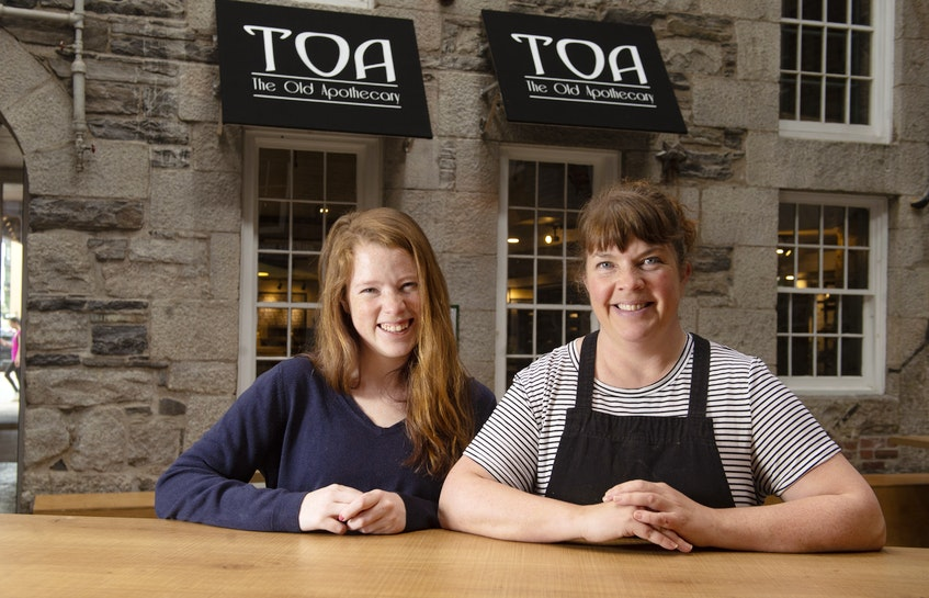 Katie and Laura MacLeod pose for a photo outside their Old Apothecary Bakery & Cafe on Tuesday, May 26, 2020. The Old Apothecary is one of the local favourites that closed in the first half of 2021. - Ryan Taplin