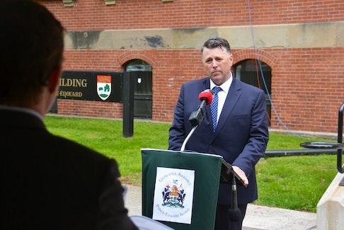 Premier Dennis King addresses the media outside the P.E.I. legislature earlier this week.