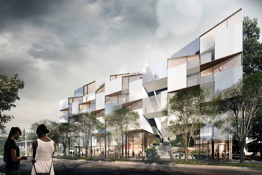 Courtyard 33, by Rndsqr, includes a plan for a co-working space in the mixed-use Marda Loop building.
