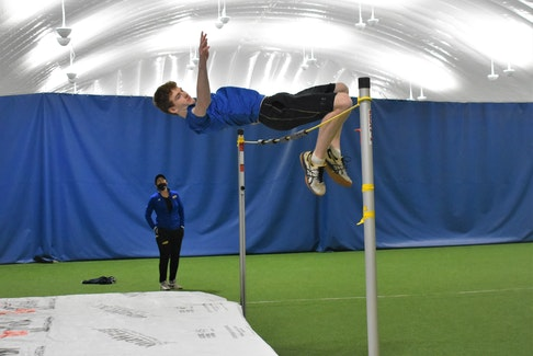 Joey MacDonald shown easily clearing the practice rope during recent training at the Cougar Dome.