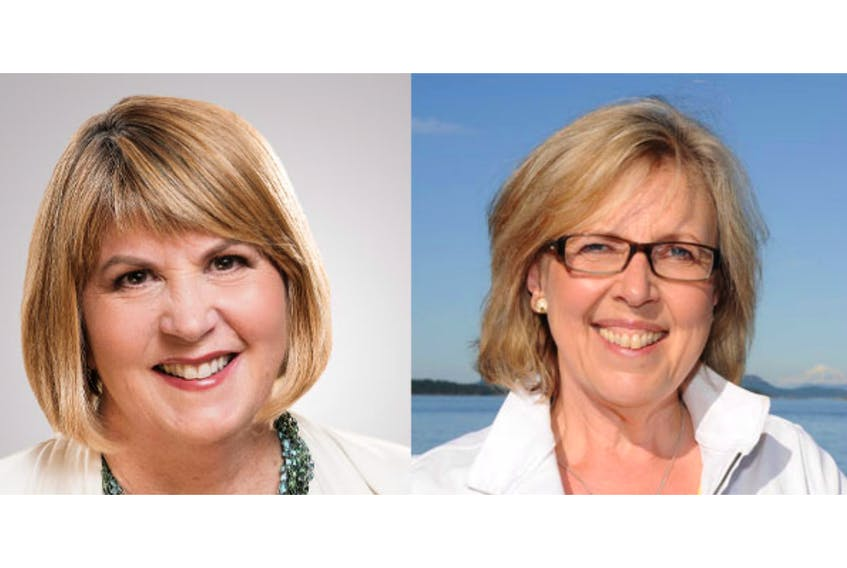 Green Party of Canada deputy leader and former Halifax candidate Jo-Ann Roberts, left, will helm the party on an interim basis after leader Elizabeth May announced Monday, Nov. 4, 2019 that she is stepping down immediately.