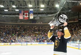 Goulds native James Melindy, the Newfoundland Growlers' captain, celebrated a Kelly Cup league championship with his Growlers teammates two years ago. Melindy is keeping busy these days as the Growlers are sitting out the 2020-21 ECHL season because of COVID-19. — Jeff Parsons/Newfoundland Growlers