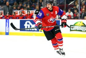 """Dawson Mercer starred in the Canadian Hockey League's Canada-Russia series prior to Hockey Canada's world junior team selection camp last year. New Jersey Devils general managter Tom Fitzgerald says Mercer is a, """"heart and soul guy, he skates well and has a lot of skill. He can play,"""" Fitzgerald said. — Hockey Canada"""
