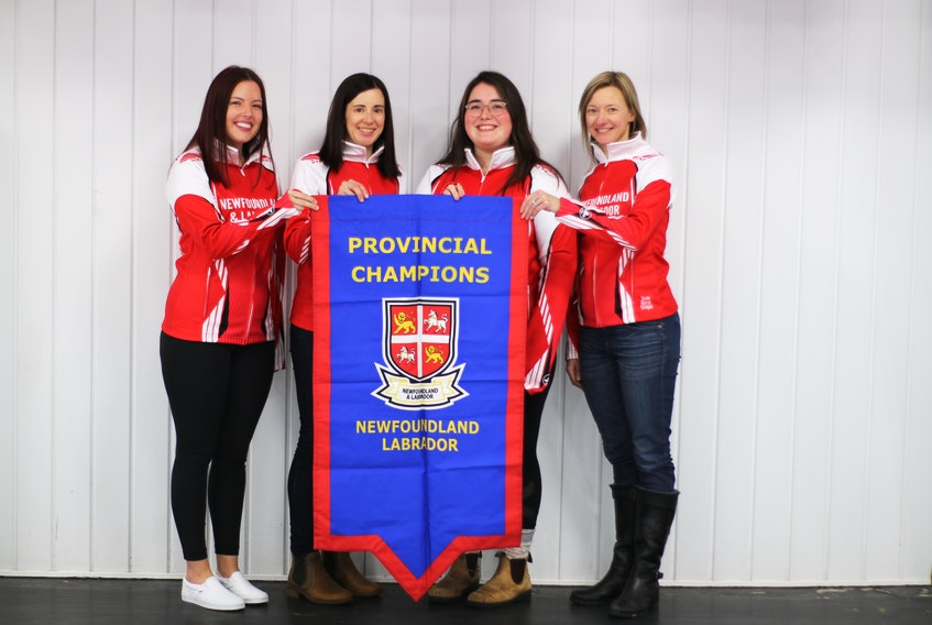 Sarah Hill and her team from the Remax Centre/St. John's Curling Club are representing the province at the Scotties Tournament of Hearts. Their first game is noon today against New Brunswick. Members of the team are (from left) Sarah Hill, Beth Hamilton, Lauren Barron and Adrienne Mercer. — Alex Phillips photo