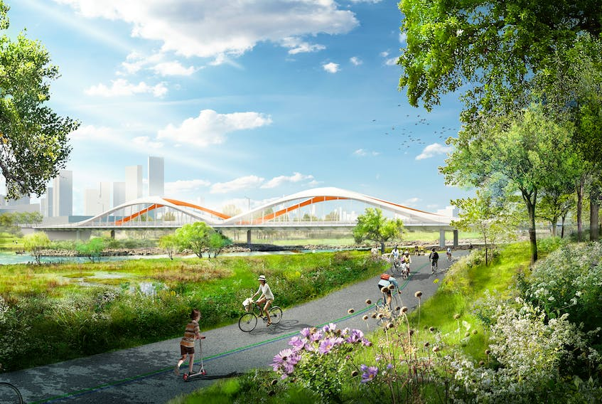 Cherubini Group in Dartmouth is fabricating four bridges for the Toronto Port Lands redevelopment project, including the four-span Commissioners Street bridge in this rendering. Two sections make up its 153-metre length, with a 53-metre width and 10.16-metre height, and it will weigh 1,210 tonnes.  Waterfront Toronto