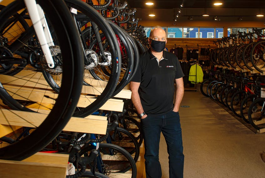 Andrew Feenstra, owner of Cyclesmith, at his shop on Agricola Street in Halifax on Thursday, Dec. 17, 2020. Ryan Taplin - The Chronicle Herald