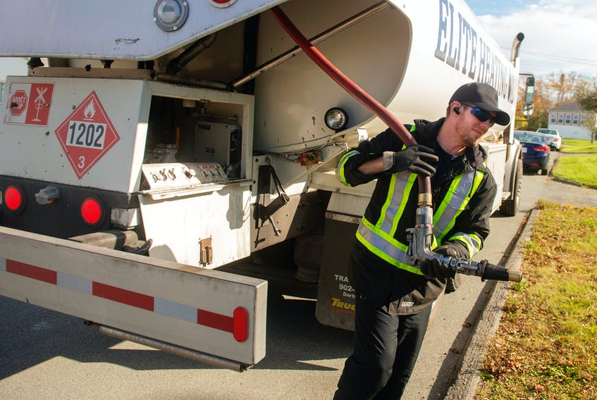 Jason White, owner of Elite Heating Oil, arrives to fill up an oil tank in Leiblin Park on Wednesday, October 28, 2020. Ryan Taplin - The Chronicle Herald