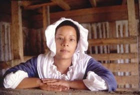"""['Charlene (Missy) Kirton, a Cape Bretoner and Park Canada interpreter, portrays Marie Marguerite Rose, an enslaved woman who eventually was freed in Louisbourg after 19 years slavery. In 1738, at the age of 21, Marie Rose gave birth to a son, Jean Francois, who became a slave. The father was listed as """"unknown"""" but slaves were often sexual victims of their owners.']"""