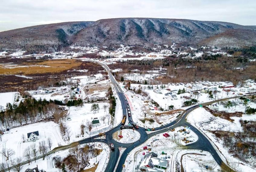 This aerial photograph from November 2020 shows the new roundabout in Whycocomagh. The initiative is part of the province's five-year highway improvement plan. CONTRIBUTED/@daveyandsky media