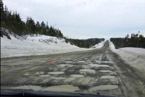 This pothole-ridden Highway 434 from Conche to Roddickton is rated one of the the worst roads in Atlantic Canada in a CAA campaign.